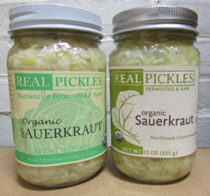 Side by side comparison of the old Real Pickles Label an the new label